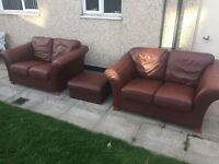 Klaussner leather sofas and storage poufee. Free local drop off