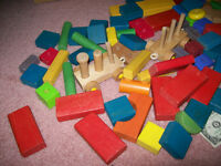 Large lot of Playskool and other Wooden blocks