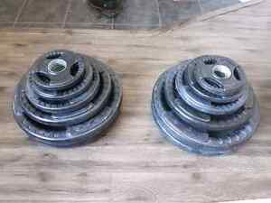 265lb rubber coated Olympic plate weights, 45lb Olympic barbell