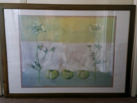Large signed painting of flowers