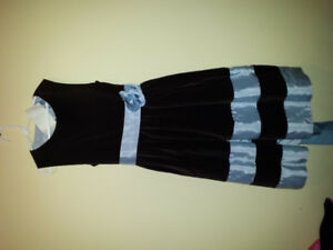 Children'sFormal brown velvet dress with light blue trim and bow