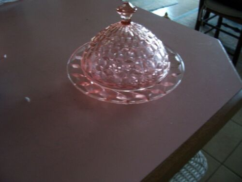 Cube Cubist Jeannette depression glass pink butter dish