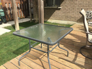 Tempered glass patio table