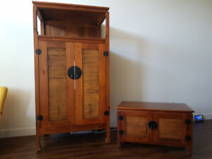 Solid wood chest.