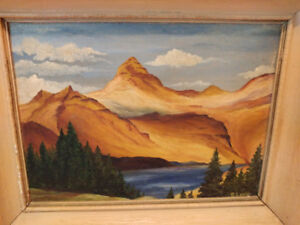 Antique signed original oil painting on board by R. Lewis.