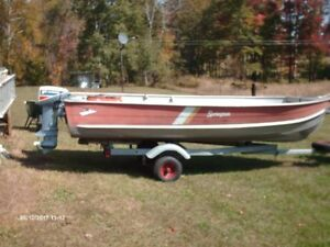 hunting or fishing boat,motor,trailer