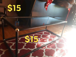 Small apt size Glass coffee table & adult size chair