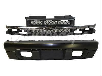 (For 98-04 CHEVY S10 PICKUP 4WD FRONT BUMPER BLACK BAR VALANCE GRILLE CHR/ARGENT)