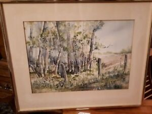 Original watercolour of Birch trees
