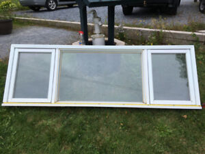 Free Old Vinyl Clad Wood Window 31 1/2 x 95 1/4 Inside Frame