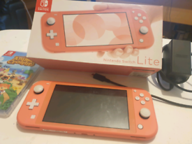 Nintendo switch lite (pink) with Animal Crossing