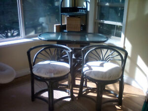 Wicker bistro table and 2chairs with cushions and corner unit