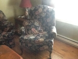 Sofa, love seat and Queen Anne chair
