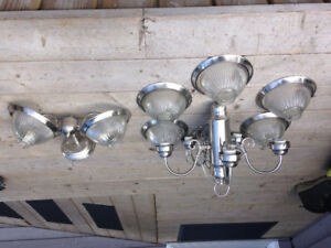 Chandelier with matching sconce