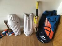 Cricket Equipment. Slazenger V800 fusion Bat, Gloves, Pads, Bag, Mallet, Ball. Used Twice