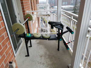 Body building bench with 4 barbell,4.5 kg