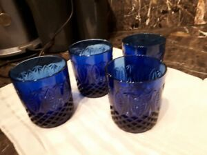 "set of 4 x 4"" cobalt blue glasses"