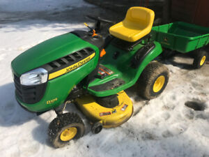 John Deere D105 17.5-HP Automatic 42-in Riding Lawn Mower w/Cart