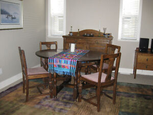 Antique gateleg table and chairs