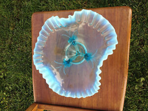 Antique Beaded & Crimped Blue Opalescent Glass Dish