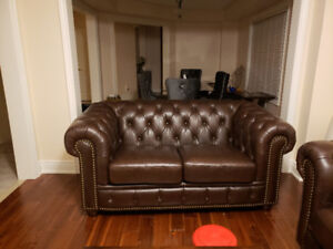 Brand new genuine tufted leather sofa and loveseat