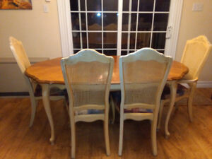 JUST REDUCED!! UNIQUE TABLE, 4 CHAIRS, BENCH AND CABINET