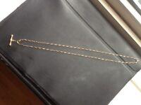 9ct 375 Rose Gold Vintage T Bar Belcher Chain Hallmarks