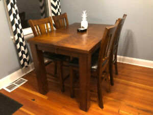 Solid Wood Kitchen Table & Hutch (Bar Height) - Moving Sale