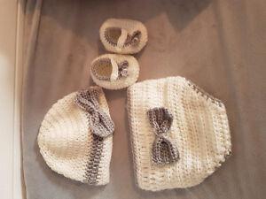 Hat, booties, diaper cover