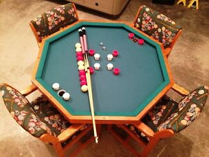 BUMPER POOL, POKER TABLE, FLAT TOP TABLE SOLID WOOD