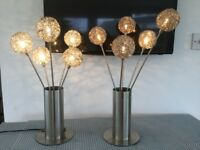 PAIR table LAMPS (G4 BULBS) STAINLESS STEEL