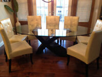 Beautiful Designer Glass & Wood Table and Leather Chair Set