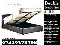 NEW LOW PRICE DOUBLE LEATHER STORAGE BED FRAME WITH MEMOREY FOAM MATTRESS