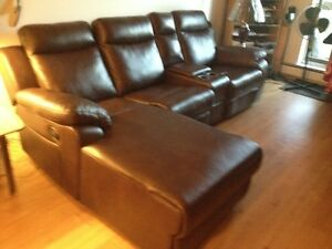 leather sectional with recliner on both side