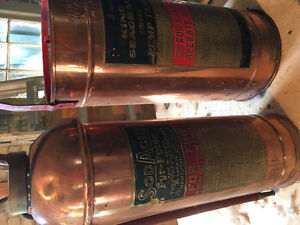 Antique copper and brass fire extinguisher