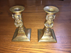 Unique monkey brass candle holders