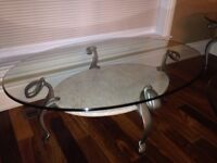 One formal coffee table and 2 end tables