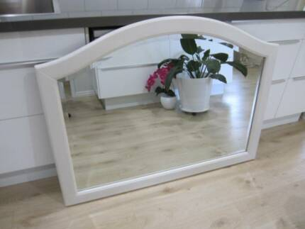 WHITE Arched Solid TIMBER Bevelled Edged WALL MIRROR 120x90cm