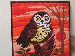 Owl, hand stitched, custom framed
