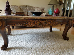 BEAUTIFUL MARBLE TOP & CHERRY HARDWOOD TABLE