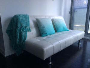 White Leather Couch (Sofa convertible into Bed) - $250 OBO