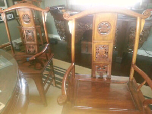 2 Wood Arm Chairs with Carvings