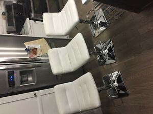 3 white leather bar stools