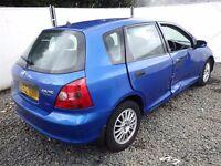 02 HONDA CIVIC S 5 DR HATCH BLUE 1.4 PETROL ENG CODE - D14Z6 CAR PARTS