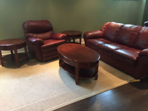 Leather Furniture Set - sofa bed, tables, reclining chairs etc.