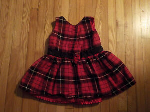 CHILDRENS PLACE GIRL'S TARTAN DRESS WITH ORGANZA FRILL 12-18 MTH