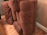 brown suede recliner chair