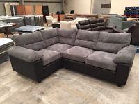 Brand new black leather & grey chorded corner sofa
