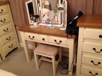 Dressing table / console unit - Oak topped & antique cream solid pine
