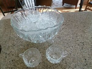 antique punch bowl with glasses